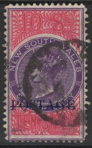 NEW SOUTH WALES SG277b 1904 10/= VIOLET & ROSINE p12x11 USED
