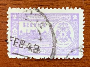 Bhopal 1947 2a mauve shade, used with 1948 cds. Scott O56 CV $22.50, SG O348d