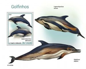 Sao Tome & Principe 2021 MNH Marine Animals Stamps Dolphins Dolphin 1v S/S