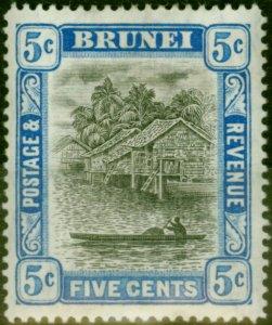 Brunei 1907 5c Grey-Black & Blue SG27 Fine Mtd Mint