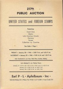 Apfelbaum: Sale # 217  -  United States and Foreign Stamp...