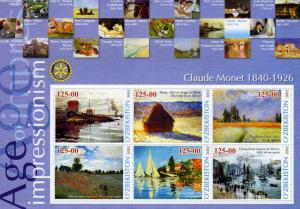 UZBEKISTAN 2002 Claude Monet Paintings Sheet Perforated mnh.vf
