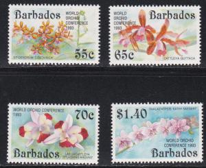 Barbados # 838-841, World Orchid Conference Overprints, NH, 1/2 Cat