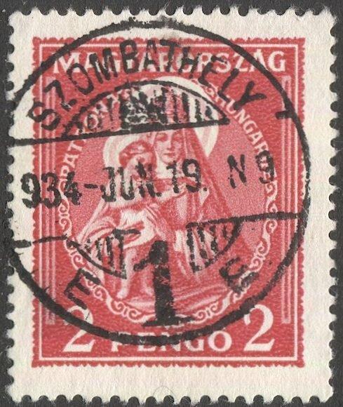 HUNGARY 1932 Sc 463  2p, Used, VF, Madonna & Child, SZOMBATHELY cancel