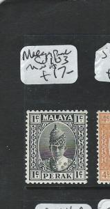 MALAYA PERAK (P1006B)  SULTAN 1C SG103  MNH