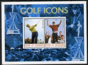 Myanmar 2001 Golf Icons (Jack Nicklaus & Tiger Woods)...