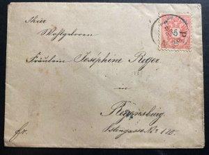 1883 Plan Austria Empire Vintage Cover To Regensburg
