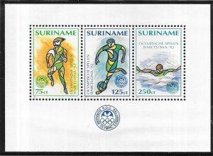 Surinam #924a  Summer Olympics Souviner/Sheet  (MNH)  CV6.75