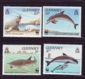 Guernsey Sc 441-4  1990 WWF Marine Life  stamps mint NH