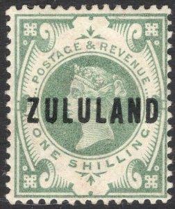 ZULULAND-1892 1/- Dull Green Sg 10 slight gum toning LIGHTLY MOUNTED MINT V50109