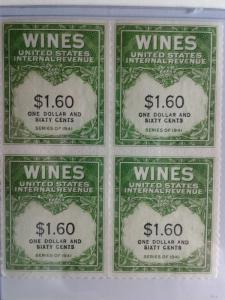 SCOTT # RE 149 MINT NEVER HINGED BLOCK OF 4 GEMS NGAI TWO LINES WINE STAMPS