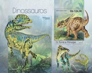 SAO TOME - 2019 - Dinosaurs - Perf Souv Sheet - MNH