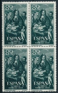 [32] Spain 1955 CHRISTMAS - ART Good BLOCK of 4 stamps very fine MNH value $37