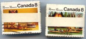 Canada #566-567 used 100 sets 1973 Algonkian Indians - Cat. $50. F-VF