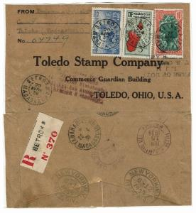 Madagascar 1939 Reg Airmail Cover w SC# B2, Pasted to Album Pg - Lot 101517
