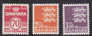 Denmark # 497, 499 &  501, Definitive Issues of 1972, NH, 1/2 Cat.