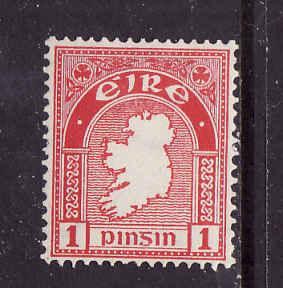 Ireland-Sc#107-unused hinged 1p carmine rose-Map of Ireland-1941-