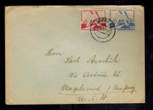 1951 Leipzig East Germany DDR Cover to USA Fair Issue # 282 283