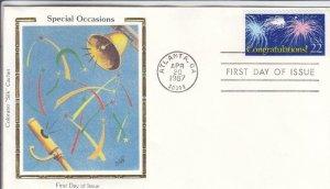 1987, Special Occasions-Congratulations, Colorano Silk, FDC (D15111)