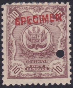 PERU 1909 OFFICIAL 10c optd SPECIMEN in red + security punch hole...........7979