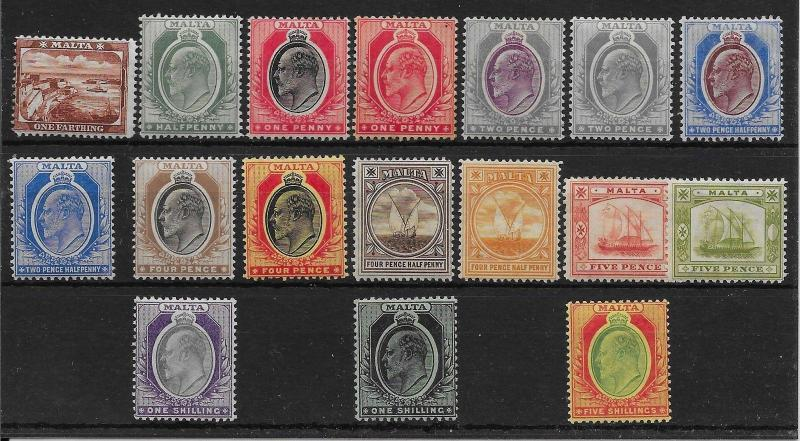 MALTA SG45/63 1904-14 DEFINITIVE SET MTD MINT