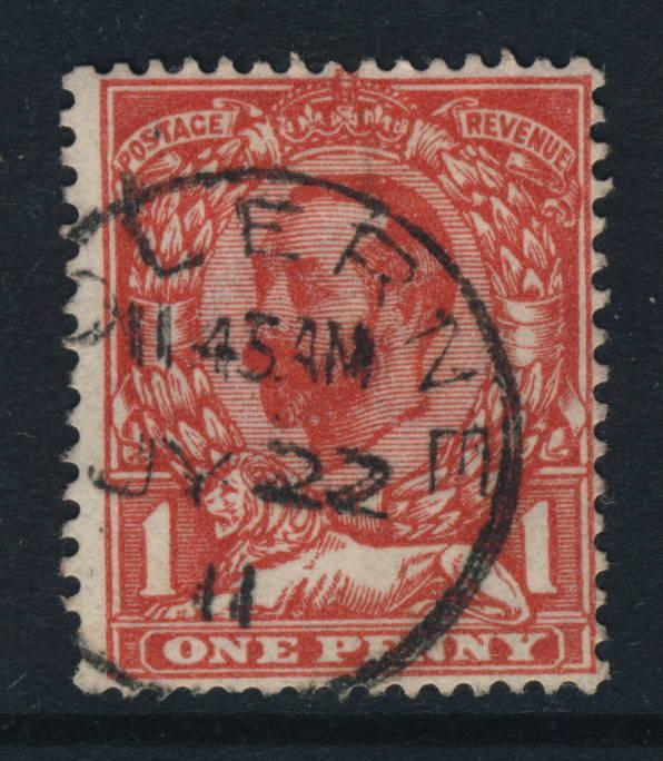 GB - KGV SG 327 1d RED CANCELLED COLERNE THIMBLE CDS (WILTSHIRE)