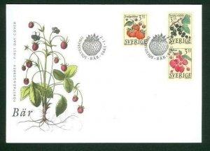 Sweden.  FDC 1995 Cachet.  Berries. Engraver  Lars  Sjooblom