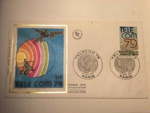 France Colorano silk FDC, 22 sept 1979, Telecom 79, Paris
