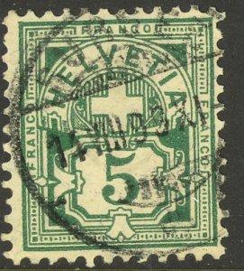 SWITZERLAND 1905 5c Green Numeral Issue Sc 115 VFU
