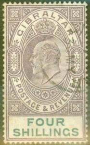 Gibraltar 1903 4s Dull Purple & Green SG53 Fine Used