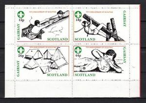 Gairsay, 1982 Scotland Local issue. 75th Anniversary of Scouting sheet of 4. ^