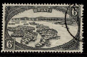 BRUNEI GVI SG83, 6c black, FINE USED.