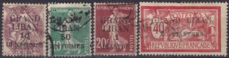 Lebanon #1, 3, 5, 10  F-VF Used CV $8.55  (Z3773)