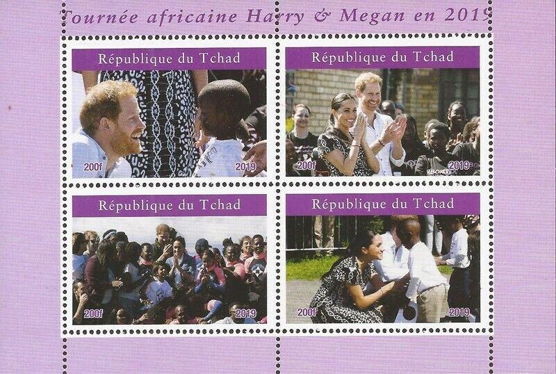 Chad - 2019 Harry & Megan African Tour - 4 Stamp Sheet - 3B-730