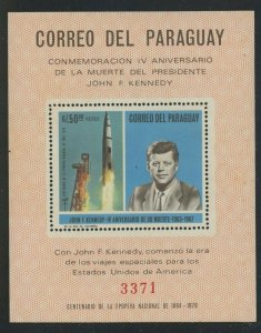 Paraguay 1968 John F Kennedy & Saturn Rocket S/S Sc# C317 NH