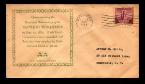 1934 70th Anniversary Battle of Winchester / Minor Creasing - N411