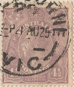1924 Australia Cover w/ 1st Issue 4½d violet KGV Head perf 14 w/ Printing Flaws