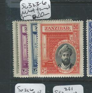 ZANZIBAR (P2402B) SULTAN SG 323-6 MOG TONED GUM