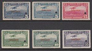 Costa Rica 1952-53 Air Post SPECIMEN Complete Set MNH. Scott C216-C219 + shades