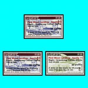 Apollo 11 Moonlanding Lundy 1969 Kennedy Eagle Cpl set opt black and red