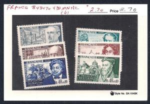 FRANCE Sc#B434-439 Complete Set Mint Never Hinged