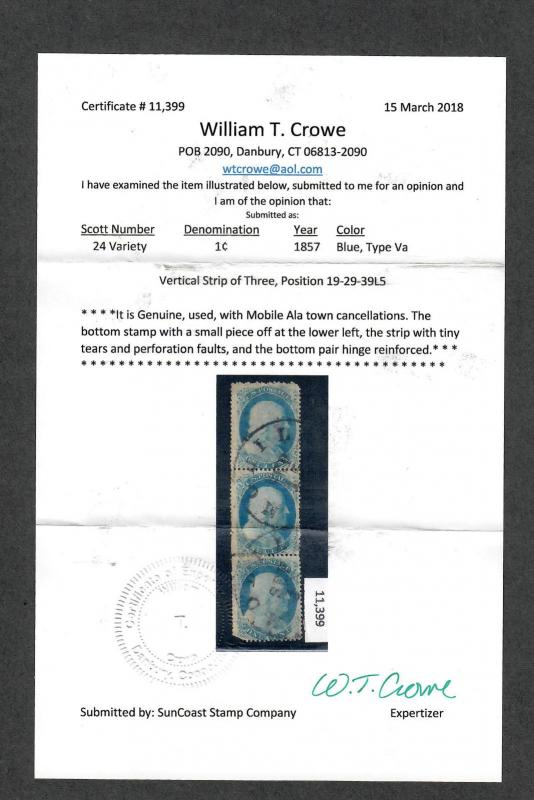 Us Sc#24 Type Va Used, Strip Of 3 Pos 19-29-39L5, Crowe Cert, Cv. $900+