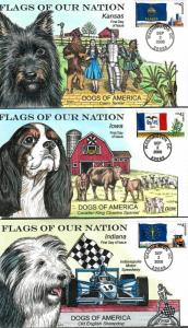 US Collins FDC SC#4283-4292 Flags Of Our Nation Dogs