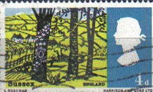 GREAT BRITAIN, 1966, used 4d, Landscapes. View near Hassocks, Sussex