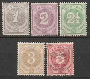 Netherlands Antilles 1889 Sc 13-17 set MNG/used