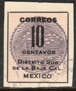 MEXICO 404, 10cents  Baja California Revolut. Issue. USED. F-VF. (7B)