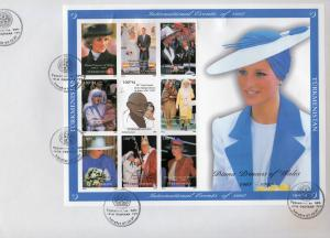 Turkmenistan 1997 Diana/GANDHI/M.Teresa/Pope John-Paul II Shlt. IMP FDC 32x23cm.