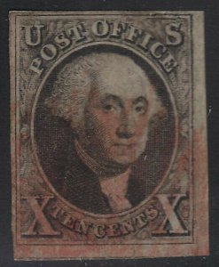 US Scott # 2 10c Washington Used / Red Cancel / Nice Margins