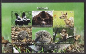 D2-Djibouti-unused NH sheet of 6-Animals-Skunks-Squirrels-2