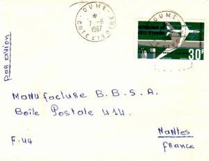 Ivory Coast 30F Air Afrique 1967 Oume, Cote d'Ivoire Airmail to Nantes, Franc...
